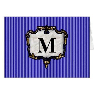 Blue Stripes, Gold Monogram Card