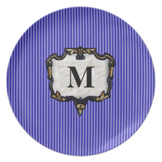Blue Stripes Gold Monogram Plate