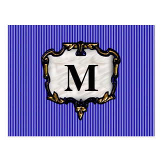 Blue Stripes, Gold Monogram Postcard
