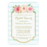 Blue Stripes Gold Pink Floral Bridal Shower Card