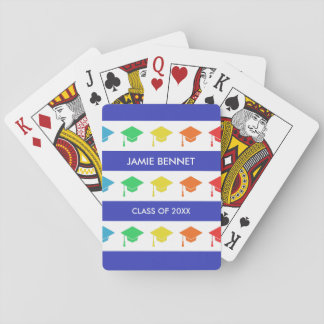 Blue Stripes & Graduation Caps | Custom Name Playing Cards