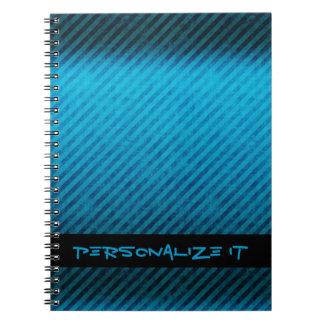 Blue Stripes Grunge Texture Spiral Note Book