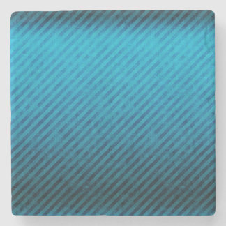 Blue Stripes Grunge Texture Stone Coaster