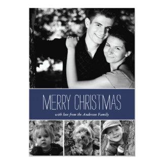 Blue Stripes Happy Holidays Photo Card Custom Announcements
