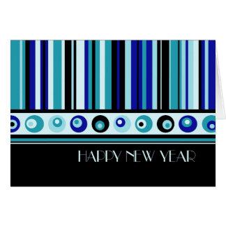 Blue Stripes Happy New Year Card