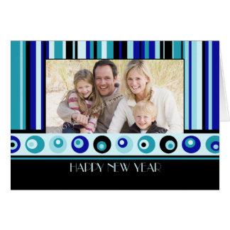 Blue Stripes Happy New Year Photo Card