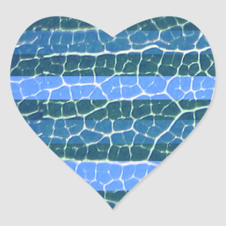 blue stripes heart sticker