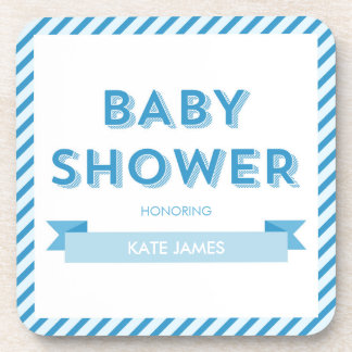 Blue Stripes Modern Boy Baby Shower Drink Coaster