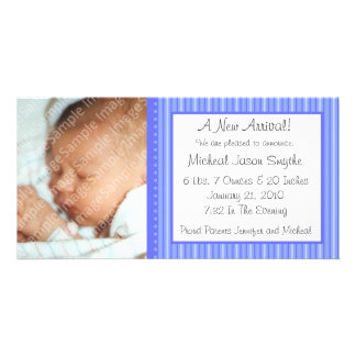 Blue Stripes New Baby Photo Card