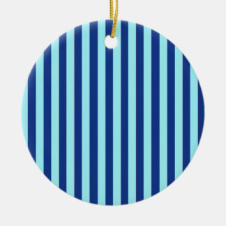 Blue Stripes Double-Sided Ceramic Round Christmas Ornament