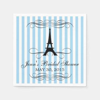 Blue Stripes Paris Eiffel Tower | Bridal Shower Napkin
