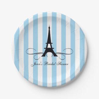 Blue Stripes Paris Eiffel Tower | Bridal Shower Paper Plate