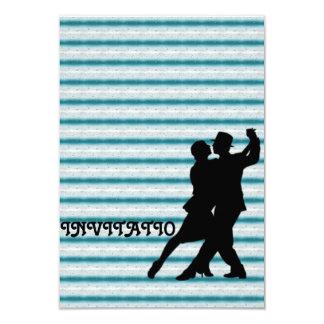 Blue Stripes Passion Tango Latin Dance Invitation