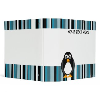 Blue Stripes Penguin Scrapbook / School Binder