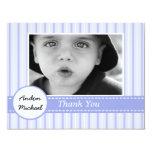 Blue Stripes Photo Flat Thank You Card Custom Invite