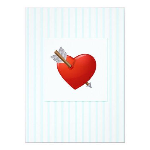 Blue Stripes - Pierced Valentine Heart Personalized Invitation