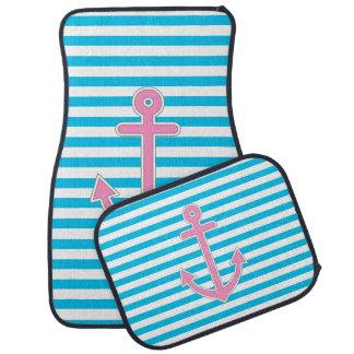 Blue Stripes Pink Anchor Nautical Car Floor Mat
