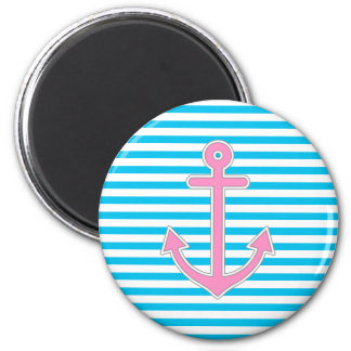 Blue Stripes Pink Anchor Nautical Magnet