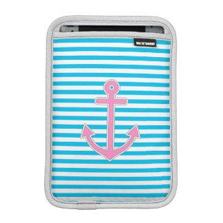 Blue Stripes Pink Anchor Nautical Sleeve For iPad Mini