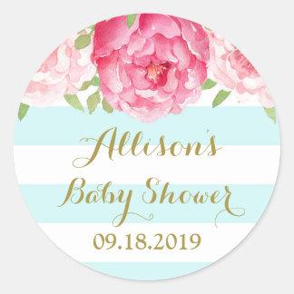 Blue Stripes Pink Floral Baby Shower Favor Tag