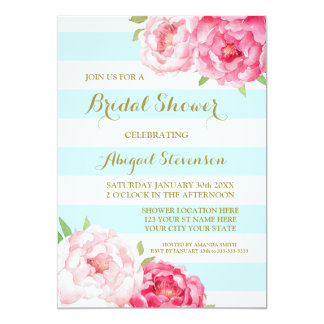 Blue Stripes Pink Watercolor Flowers Bridal Shower Card