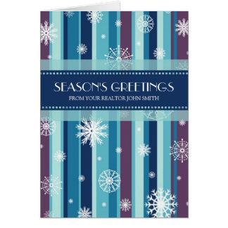 Blue Stripes Real Estate Season's Greetings Card