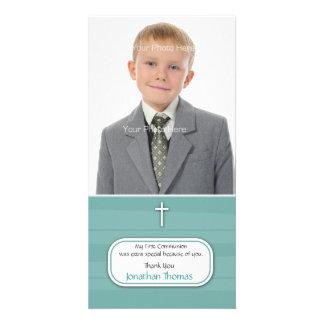 Blue Stripes Religious Photo Card