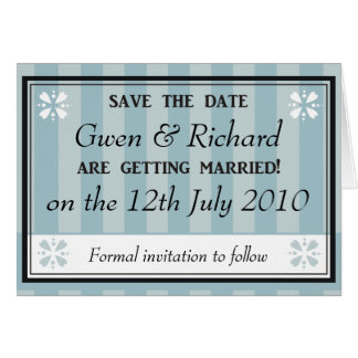 Blue Stripes Save the Date Card