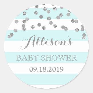 Blue Stripes Silver Confetti Baby Shower Favor Classic Round Sticker