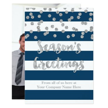 Professional Business Blue Stripes Silver Confetti Christmas Business Card
