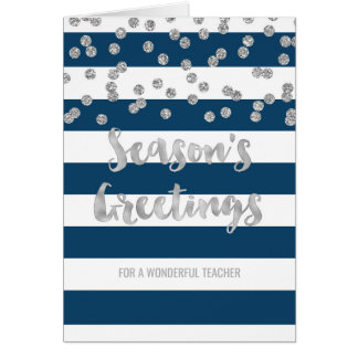Blue Stripes Silver Confetti Christmas Teacher Card