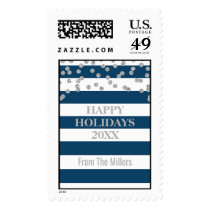Blue Stripes Silver Confetti Happy Holidays Postage