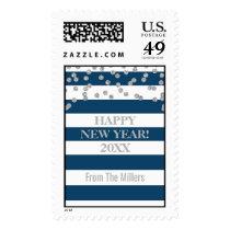 Blue Stripes Silver Confetti Happy New Year Postage