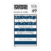 Blue Stripes Silver Confetti Season's Greetings Postage