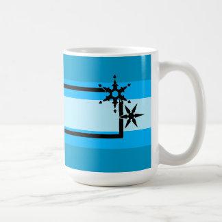 Blue Stripes Snowflakes Mug