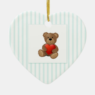 Blue Stripes - Teddy Bear with Valentine Heart Ceramic Ornament