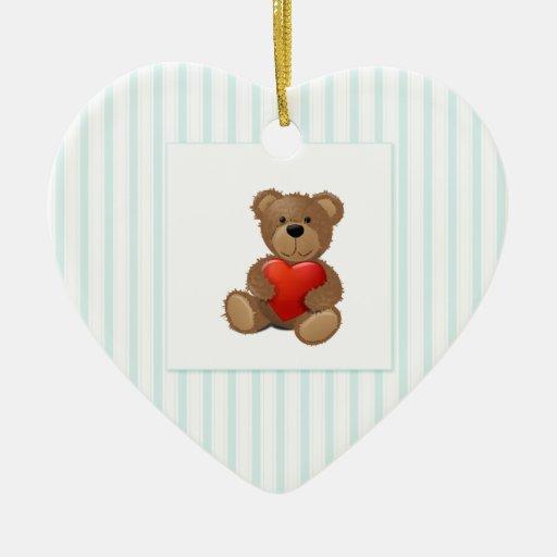 Blue Stripes - Teddy Bear with Valentine Heart Christmas Tree Ornament