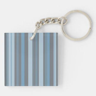 Blue Stripes Vertical Design Double-Sided Square Acrylic Keychain