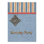 Blue Stripes Weave and Medallion Birthday Party 5x7 Paper Invitation Card