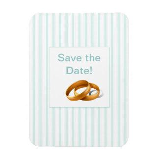 Blue Stripes - Wedding Rings Rectangular Photo Magnet