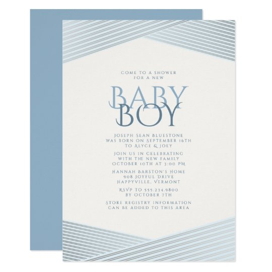 Blue Stripes Welcome Baby Shower Invitation