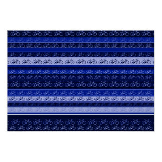 blue stripes with Bikes Poster