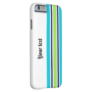 Blue Stripes with Custom Text Barely There iPhone 6 Case