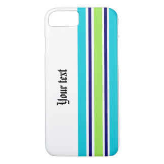 Blue Stripes with Custom Text iPhone 7 Case