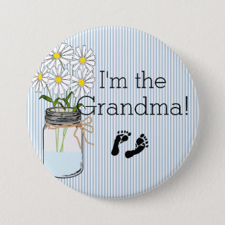 Blue Stripes with Mason Jar I'm The Grandma Pinback Button