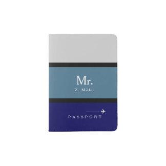 blue stripes with Mr. name Passport Holder