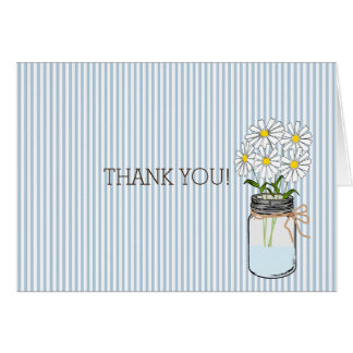 Blue Stripes with Vintage Mason Jar Thank You Card