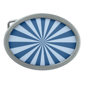 Blue Stripey Sun Burst Abstract Oval Belt Buckle