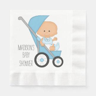 Blue Stroller Baby Shower Disposable Napkins