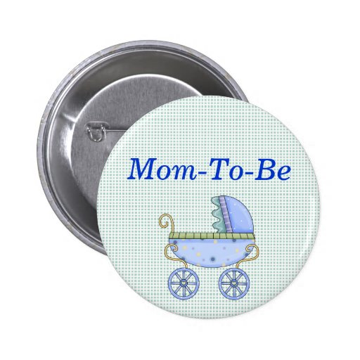 blue stroller baby shower mommy pin button zazzle